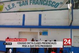 SMP: Colegio dicta clases presenciales pese a que está prohibido