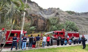 Incendio forestal en malecón de la Costa Verde alarmó a vecinos de Chorrillos