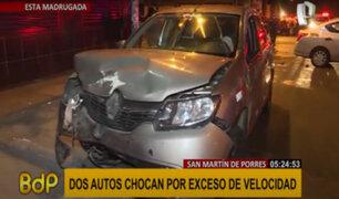 SMP: aparatoso choque entre dos autos deja una persona herida