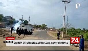 Tumbes: pobladores se enfrentaron a la policía por colapso de alcantarillado
