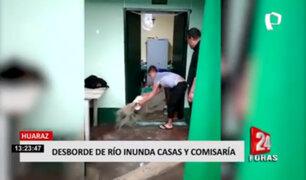 Huaraz: desborde de río inundó casas y comisaría
