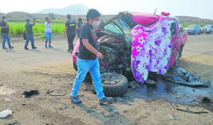 Choque frontal entre volquete y camioneta deja un muerto y tres heridos graves en la Libertad