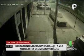 SJL: Delincuentes robaron por cuarta vez autopartes del mismo vehículo
