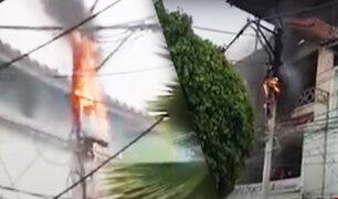 Incendio en un poste de electricidad causó pánico en el centro de la ciudad de Tumbes