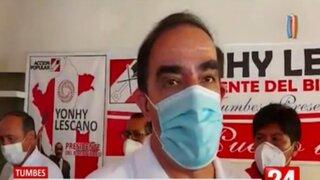 Tumbes: Yonhy Lescano deslinda todo apoyo a Manuel Merino