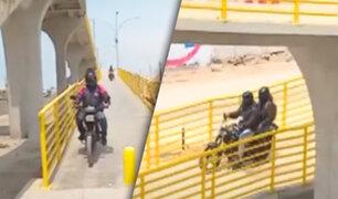 ¿Por qué irresponsables motociclistas usan puente peatonal en la Panamericana Sur?