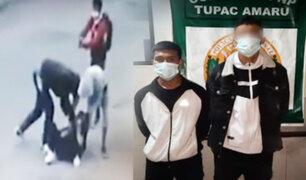 Joven es golpeada por delincuentes en Comas