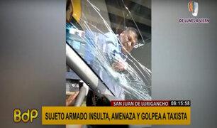 SJL: sujeto rompe parabrisas de taxista con la cacha de un arma de fuego