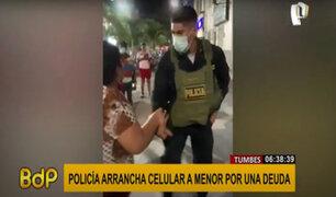 Tumbes: policía le arrancha celular a menor desprevenido