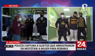 El Agustino: Policía capturó a sujetos que arrastraron en mototaxi a mujer para robarle