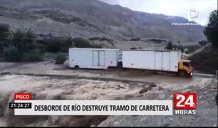 Ica: río Pisco incrementa su caudal, destruye vía y deja incomunicado a centro poblado