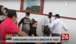 Iquitos: turba agrede con insultos y amenazas a director de la UGEL