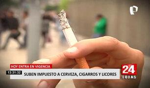 HOY rige aumento de Impuesto Selectivo al Consumo a cigarrillos y bebidas alcohólicas