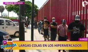 D'mañana: Continúan largas colas en supermercado de Surco a tres días del confinamiento