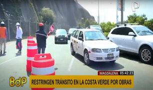 Magdalena: ¡ATENCIÓN! restringen tránsito en la Costa Verde por obras