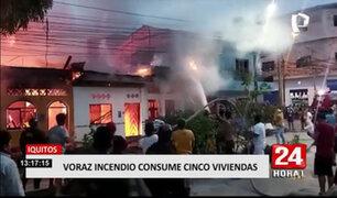 Cortocircuito causa incendio que consume cinco viviendas en Iquitos