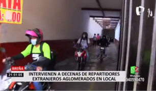 Decenas de repartidores extranjeros fueron intervenidos en inmueble de Breña