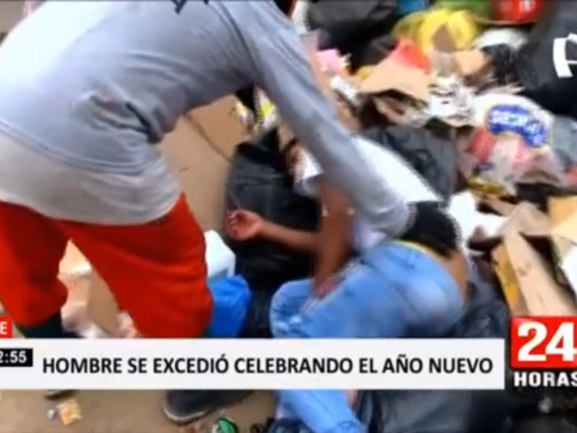 Ate: hombre se excedió celebrando Año Nuevo y amaneció durmiendo en la basura