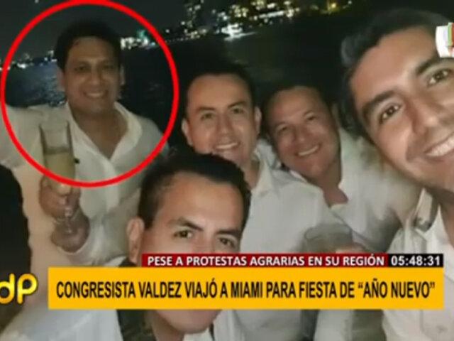 Congresista Luis Valdez viajó a Miami para recibir Año Nuevo