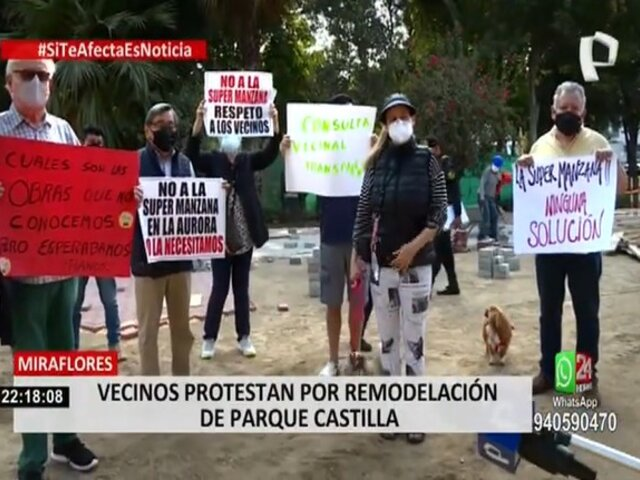 Miraflores: vecinos denuncian que obras en parque obstaculizan el libre tránsito