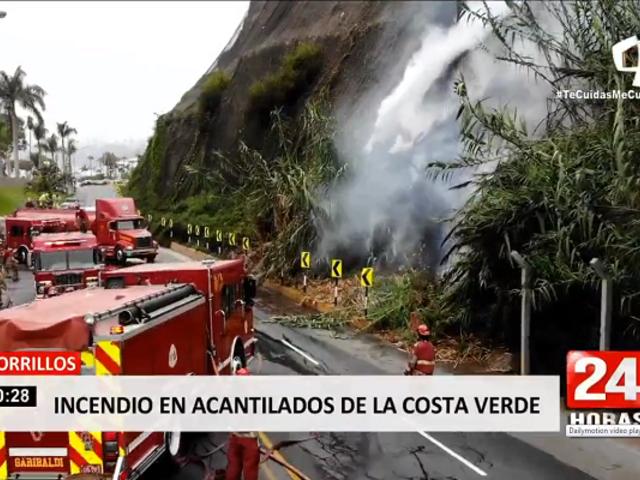 Chorrillos: controlan incendio en acantilados de la Costa Verde