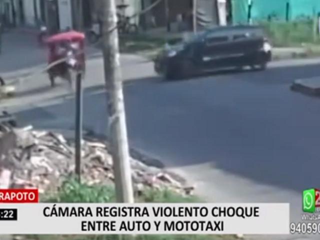 Tarapoto: cámara registra violento choque auto y mototaxi