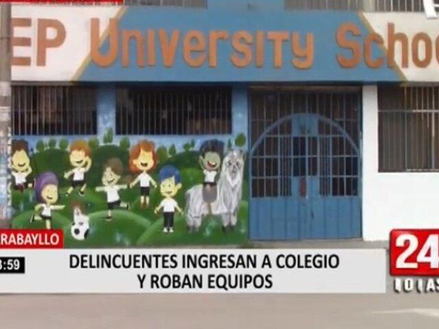 Carabayllo: delincuentes ingresan a colegio y se llevan S/ 30.000 en equipos tecnológicos