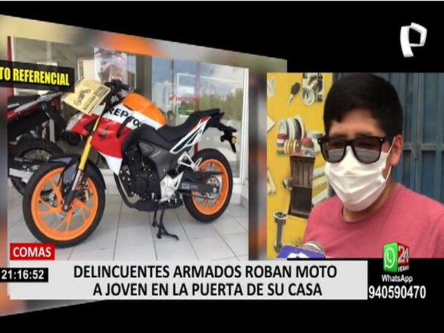 Carabayllo: joven sufre robo de su moto en la puerta de su casa
