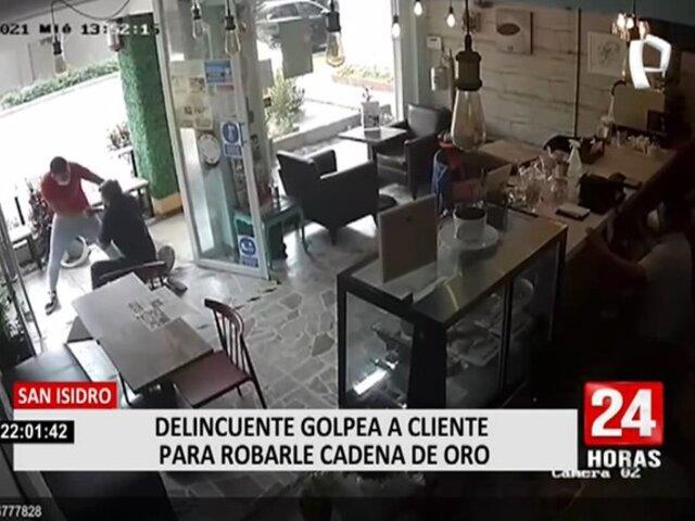 San Isidro: delincuente ingresa a cafetería para robar cadena de oro a cliente