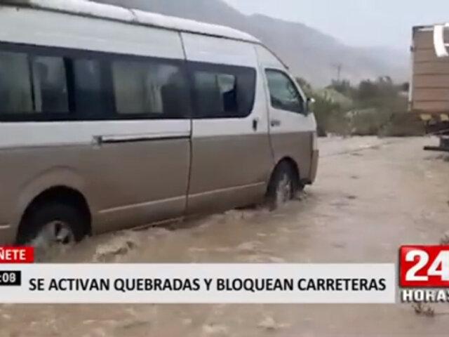 Cañete: quebradas se activan y bloquean carretera de Yauyos