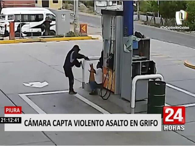 Piura: Cámaras captan violento asalto a un grifo en Chulucanas