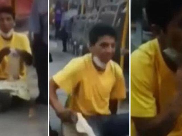 Mujer denuncia que falso mendigo le escupió en la cara cuando estaba dentro de un bus