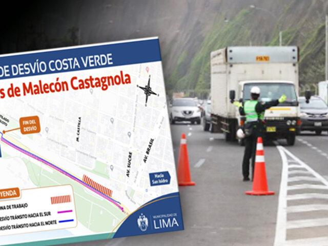 Hoy y mañana se restringirá el tránsito en parte de la Costa Verde