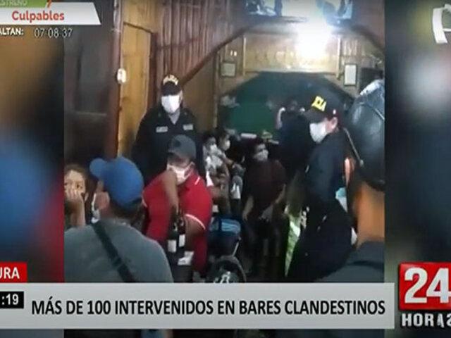 Piura: PNP interviene a más de 100 personas en bares y locales clandestinos