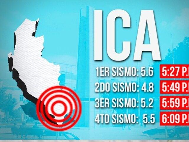 Cuatro sismos remecen Ica en menos de una hora