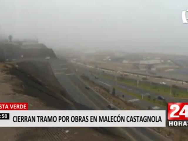 Magdalena: cierran tramo de la Costa Verde por obras en Malecón Castagnola