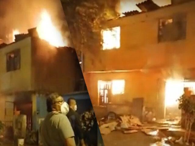 Rescatan a una mujer de la tercera edad de vivienda incendiada en SJM