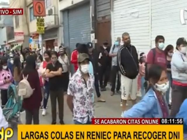 SJM: caos en exteriores de la Reniec por colapso del sistema