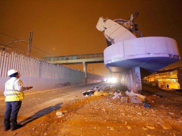Investigan causas que desencadenaron caída de rampa de un puente en VMT