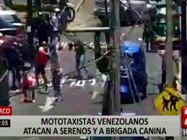 Surco: Mototaxistas atacaron a serenos y a brigada canina durante intervención