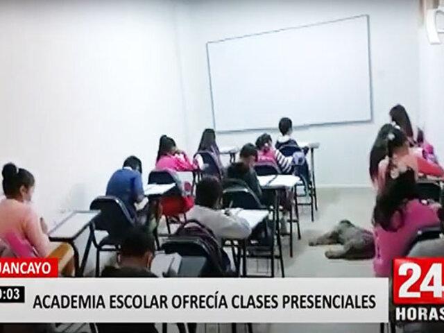 Huancayo: 85 estudiantes recibían clases presenciales en academia