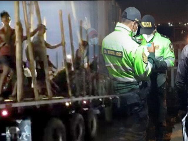 PNP interviene camión que transportaba a más de 30 extranjeros ilegales en Tumbes