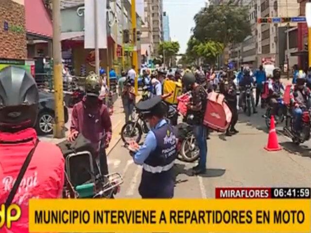 Miraflores: fiscalizan a repartidores en moto para constatar protocolos de bioseguridad