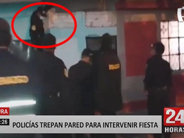 Piura: policías trepan pared de vivienda para intervenir fiesta ilegal