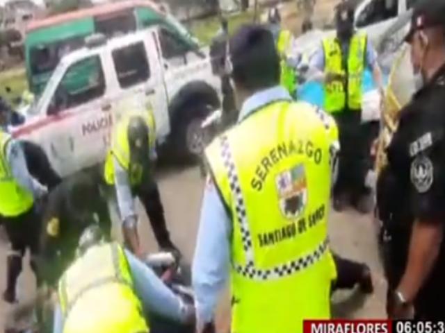 Miraflores: motociclista sin placa protagonizó persecución en calles