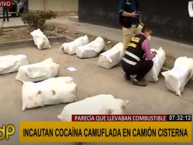 Callao: incautan sacos con cocaína camuflada en un camión cisterna