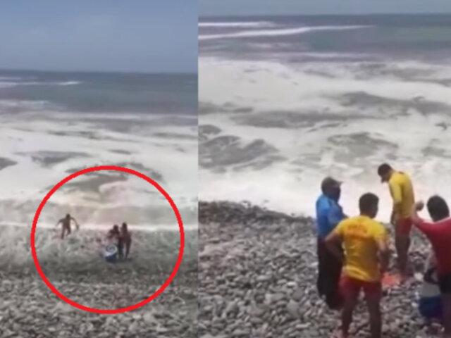 Sujeto ingresó a playa La Pampilla con tabla de tecnopor y se salvó de morir