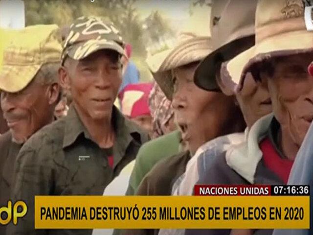 Naciones Unidas: COVID-19 destruyó 255 millones de empleos en el 2020