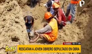 Tumbes: joven obrero casi termina sepultado por derrumbe en obra