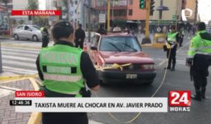 San Isidro: taxista muere al chocar en Av. Javier Prado